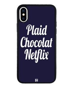 theklips-coque-iphone-x-10-plaid-chocolat-netflix-bleu-marine