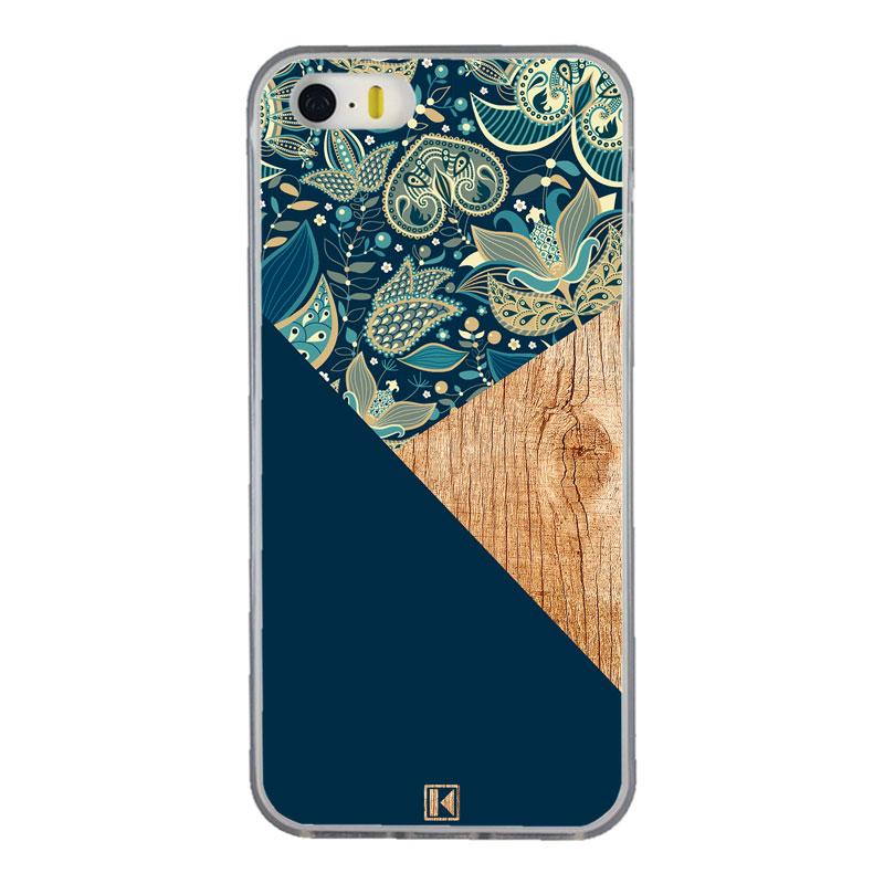 Coque iPhone 5/5s/SE - Graphic wood bleu