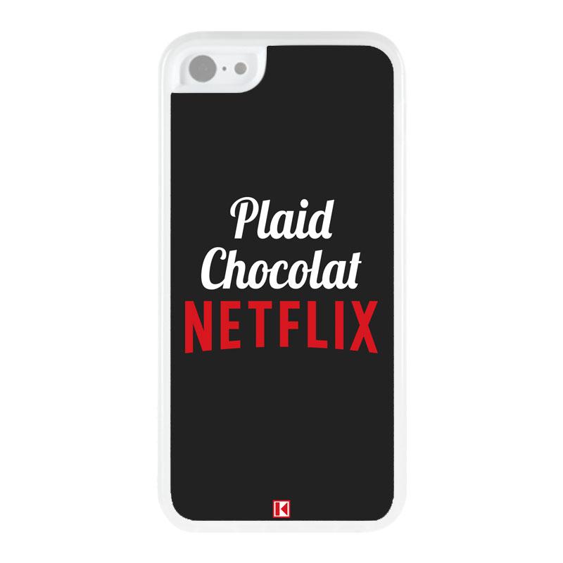 theklips coque iphone 5c rubber plaid chocolat netflix