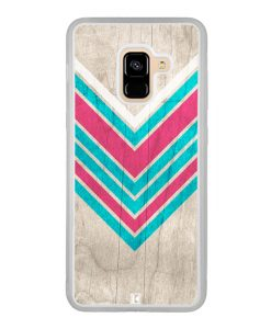 Coque Galaxy A8 2018 – Chevron on white wood