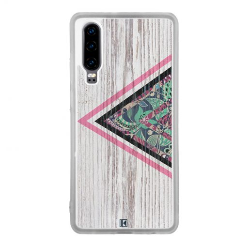 Coque Huawei P30 – Triangle on white wood