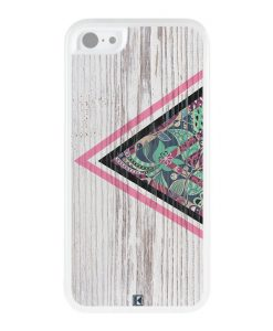 Coque iPhone 5c – Triangle on white wood