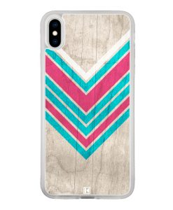 Coque iPhone Xs Max – Chevron on white wood