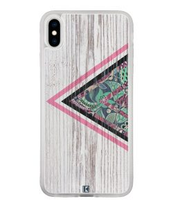 Coque iPhone X / Xs – Triangle on white wood