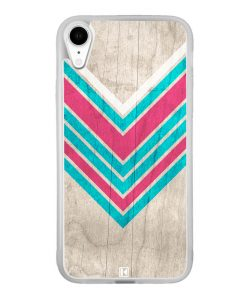 Coque iPhone Xr – Chevron on white wood