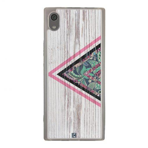 Coque Xperia XA1 – Triangle on white wood
