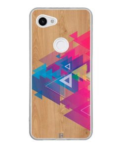 Coque Google Pixel 3A – Multi triangle on wood