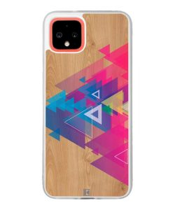 Coque Google Pixel 4 – Multi triangle on wood