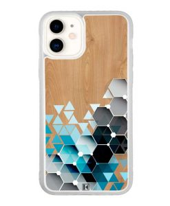 Coque iPhone 11 – Blue triangles on wood