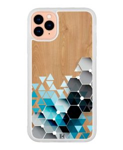 Coque iPhone 11 Pro – Blue triangles on wood