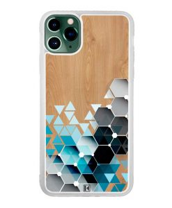 Coque iPhone 11 Pro Max – Blue triangles on wood