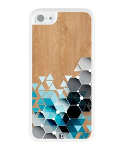 Coque iPhone 5c – Blue triangles on wood