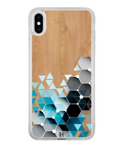 Coque iPhone Xs Max – Blue triangles on wood